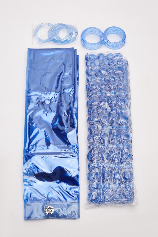 Blue Bath Mat And Shower Curtain Set