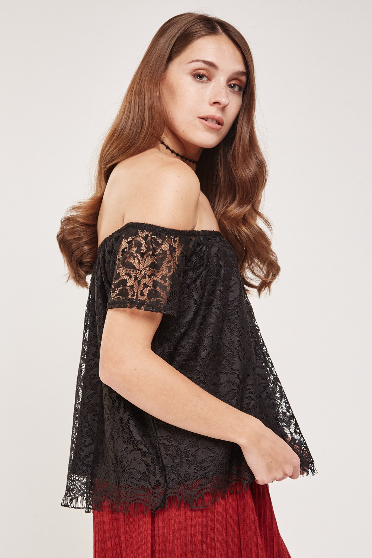 04b2f71b4cdd0 Lace Overlay Bardot Top - Black - Just £5