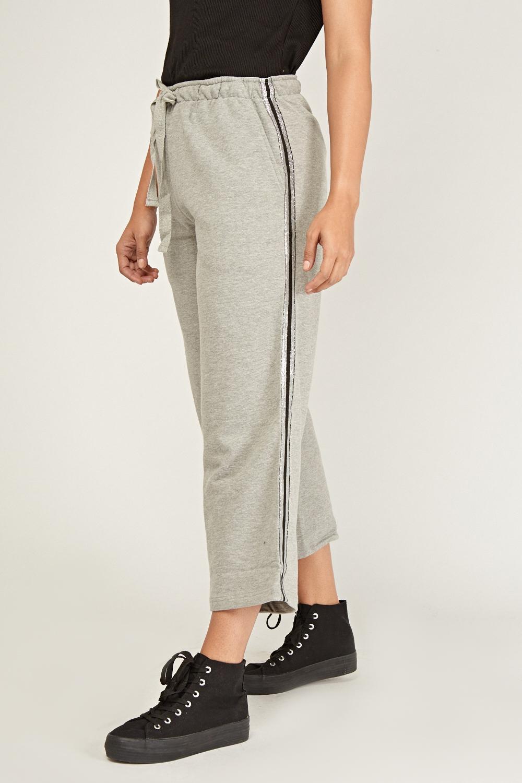 Stripe Trim Wide Leg Joggers Grey Just 163 5