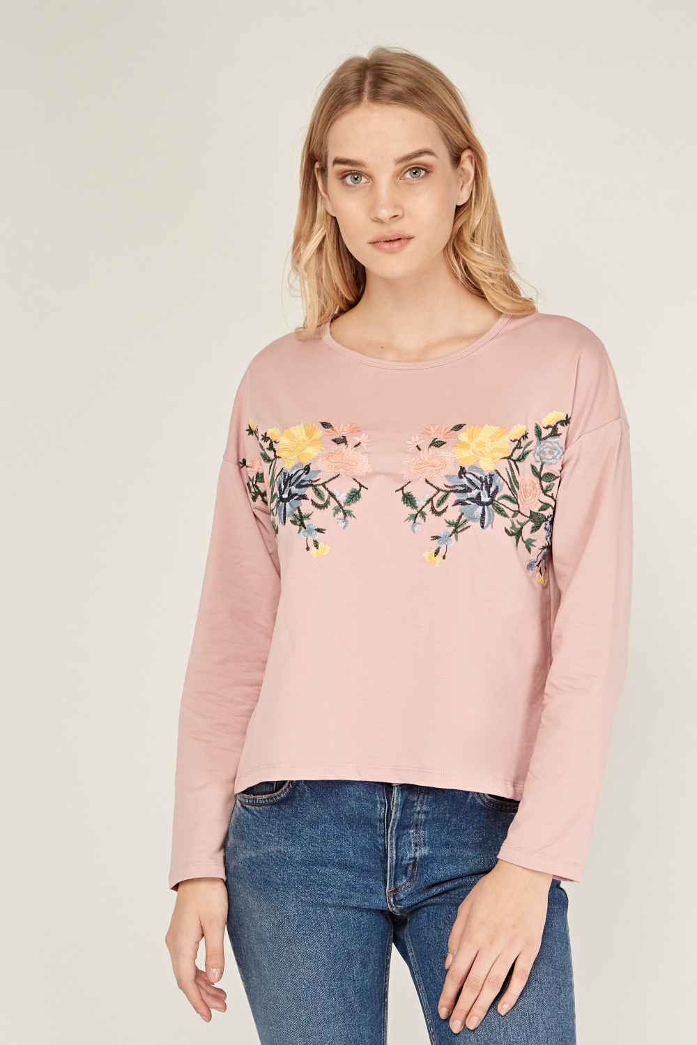 2a91b5c45f5506 Flower Embroidered Basic Top - 3 Colours - Just £5