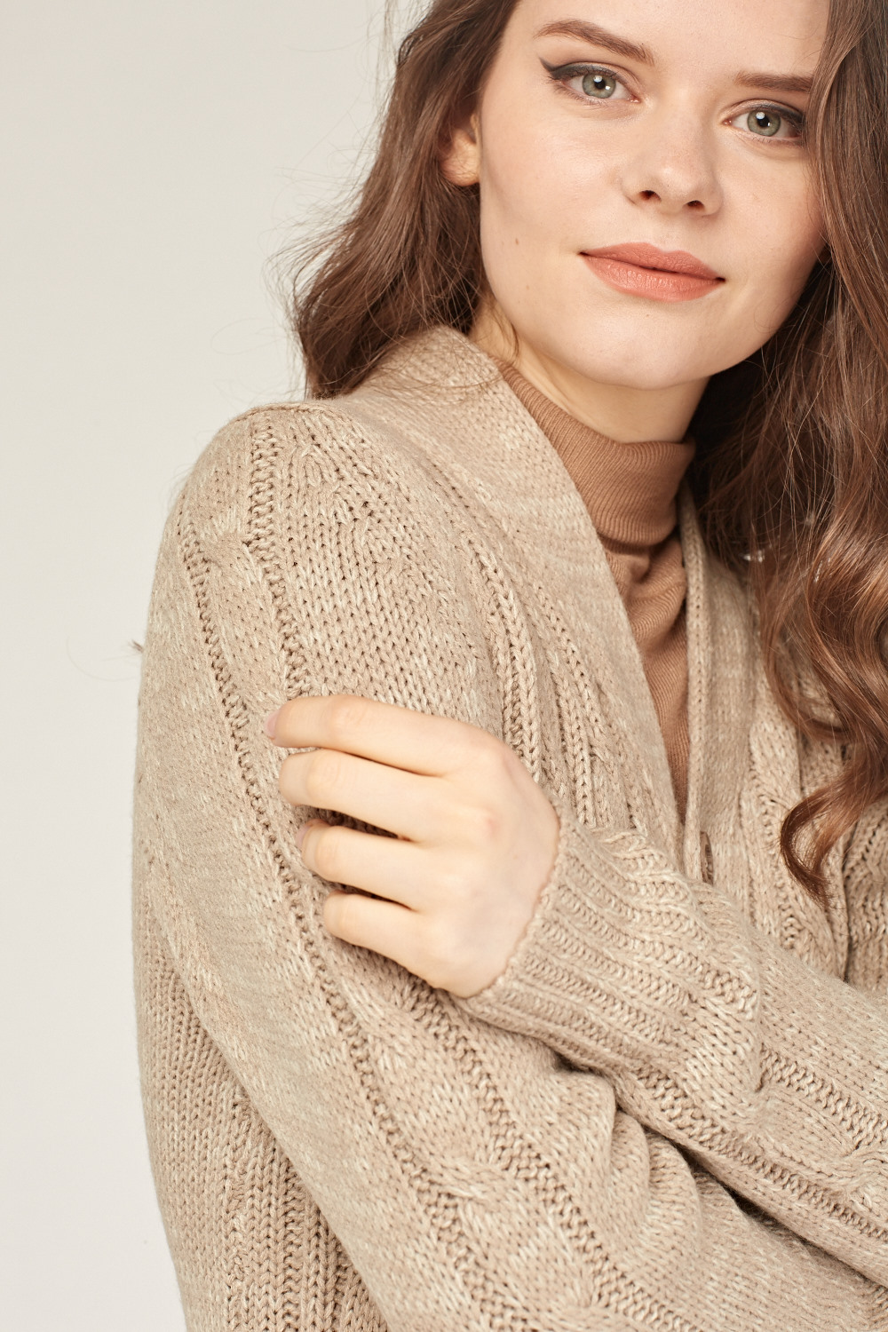 Beige Cable Knit Cardigan Just 163 5
