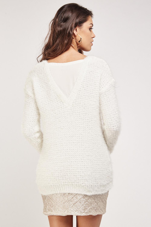 Eyelash Knitted Sheer Insert Jumper Cream Just 163 5