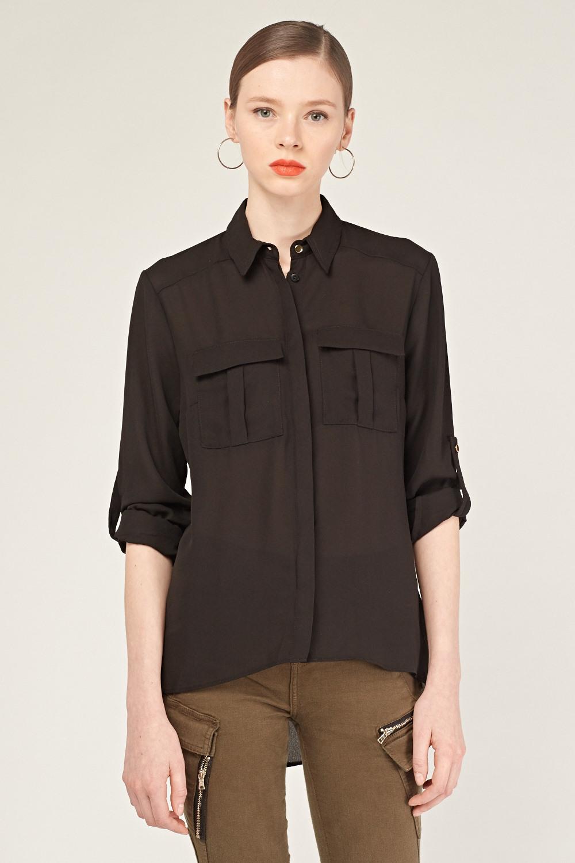 15ac8447a5ea Dip Hem Sheer Shirt - Black - Just £5