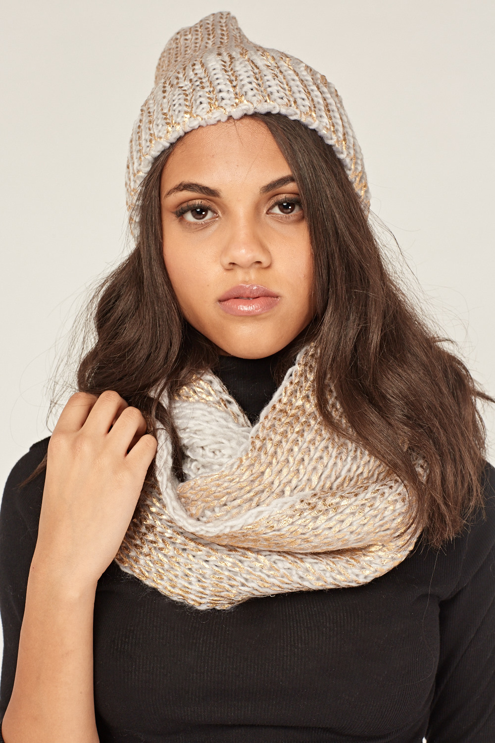 10d3c2f0556 Metallic Knitted Snood And Hat Set - 7 Colours - Just £5