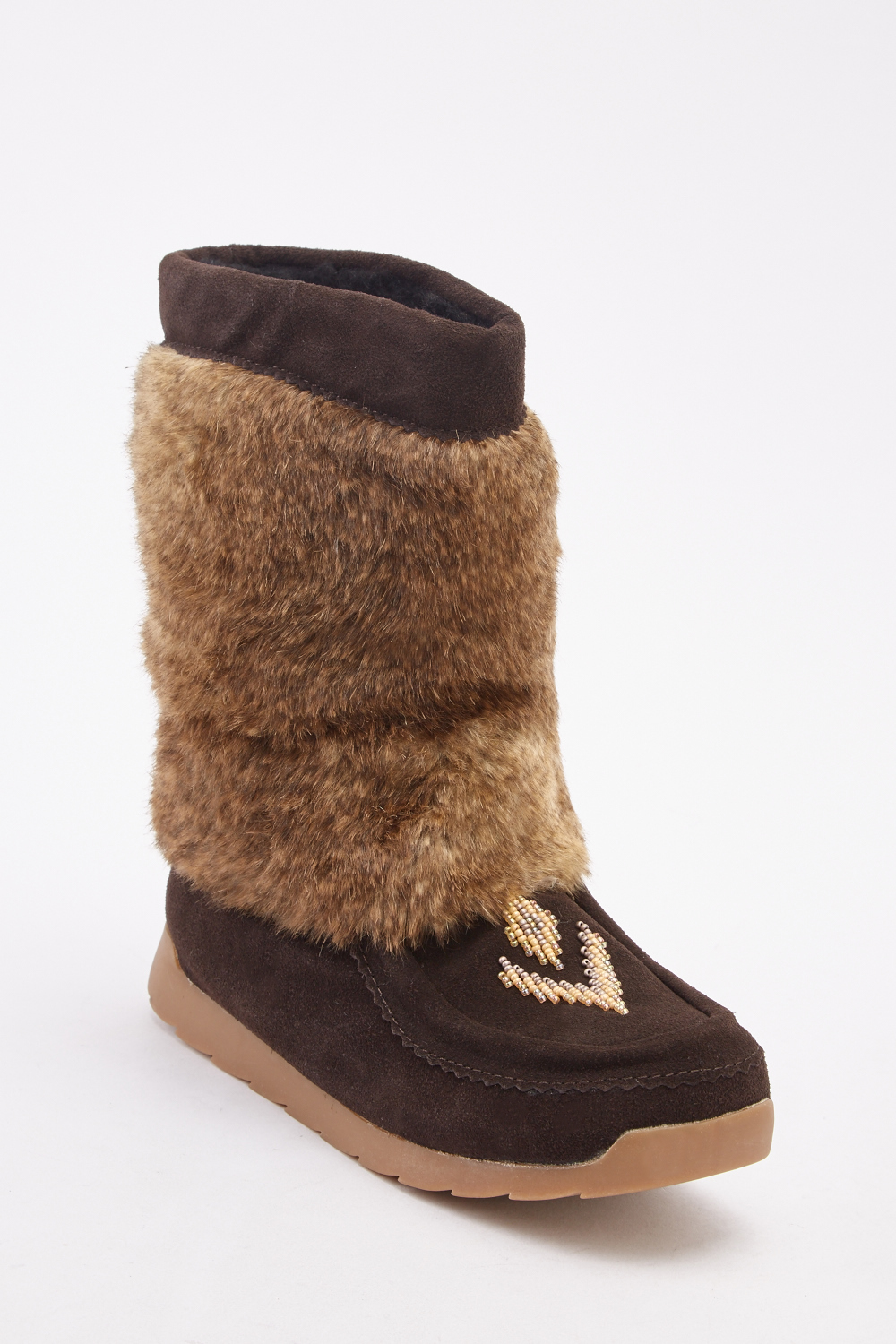 Beaded Front Faux Fur Ankle Boots for only 5 pounds. With teddy bear lincing
