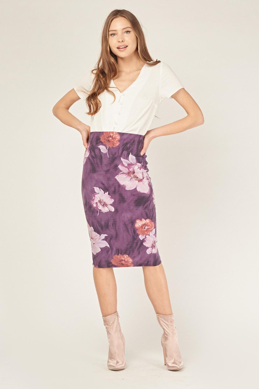 fd59394dda Purple Floral Midi Skirt - Purple/Multi - Just £5