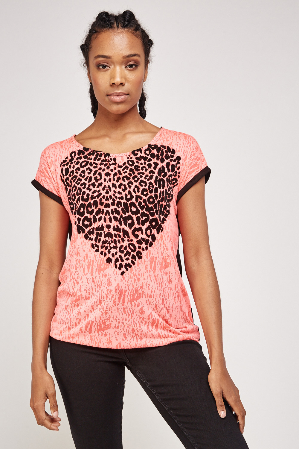 1c82d150f48cca Contrast Animal Heart Print Top - Pink/Black - Just £5