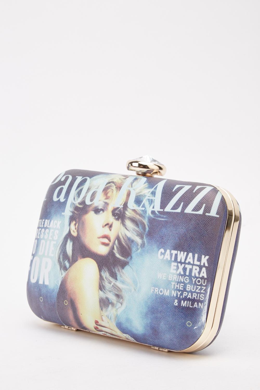 Magazine Print Clutch Bag 1
