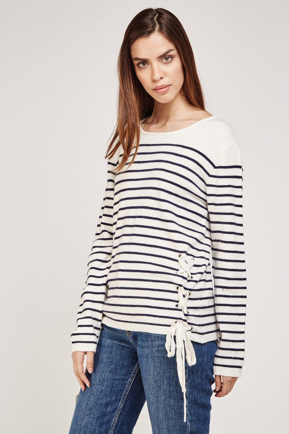 b81812607d Lace Up Front Side Striped Knit Jumper - Cream Navy - Just £5