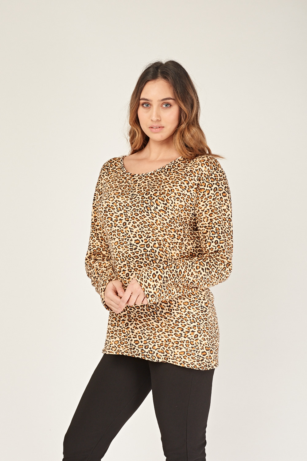635a75e5a013be Leopard Print Round Neck Top - Just £5