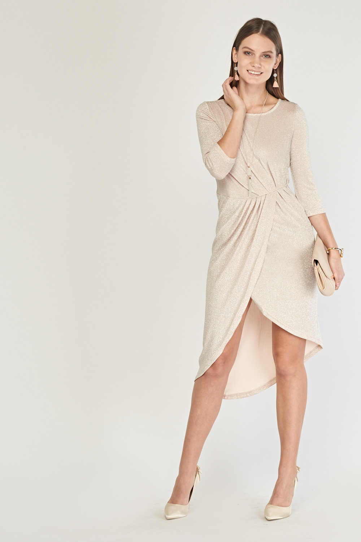 e84c1904a0 Lurex Pleated Front Midi Wrap Dress - Just £5