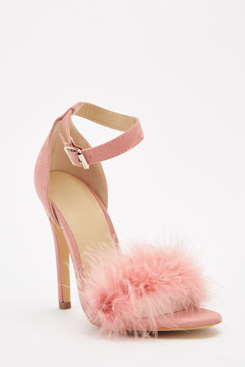 1f225a0ca145 Fluffy Ankle Strap Sandals - Black or Pink - Just £5