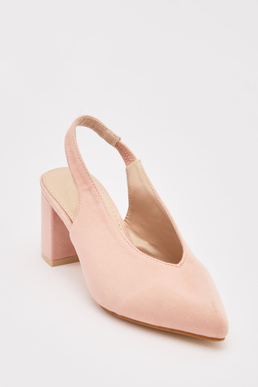 9fe68c937ae Suedette Slingback Block Heel Sandals - 3 Colours - Just £5