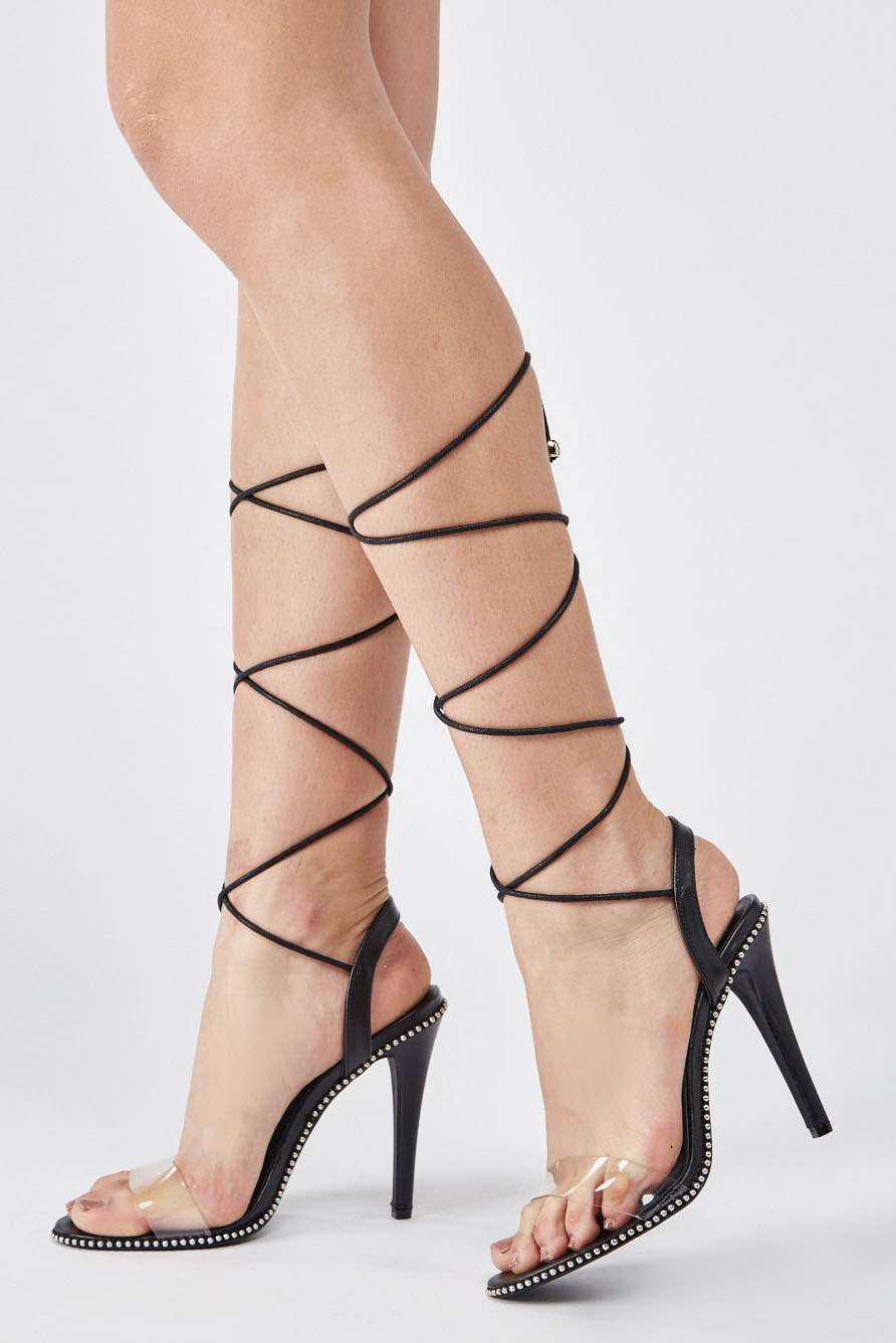 eaeaa5d308d Transparent Lace Up Heels - Just £5