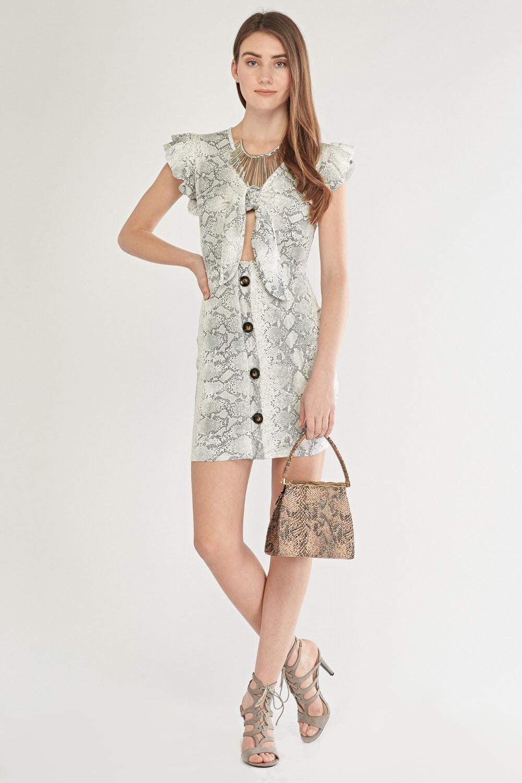 8d37cfa8256 Ruffle Sleeve Printed Dress. £5.00. ColourOff White Multi