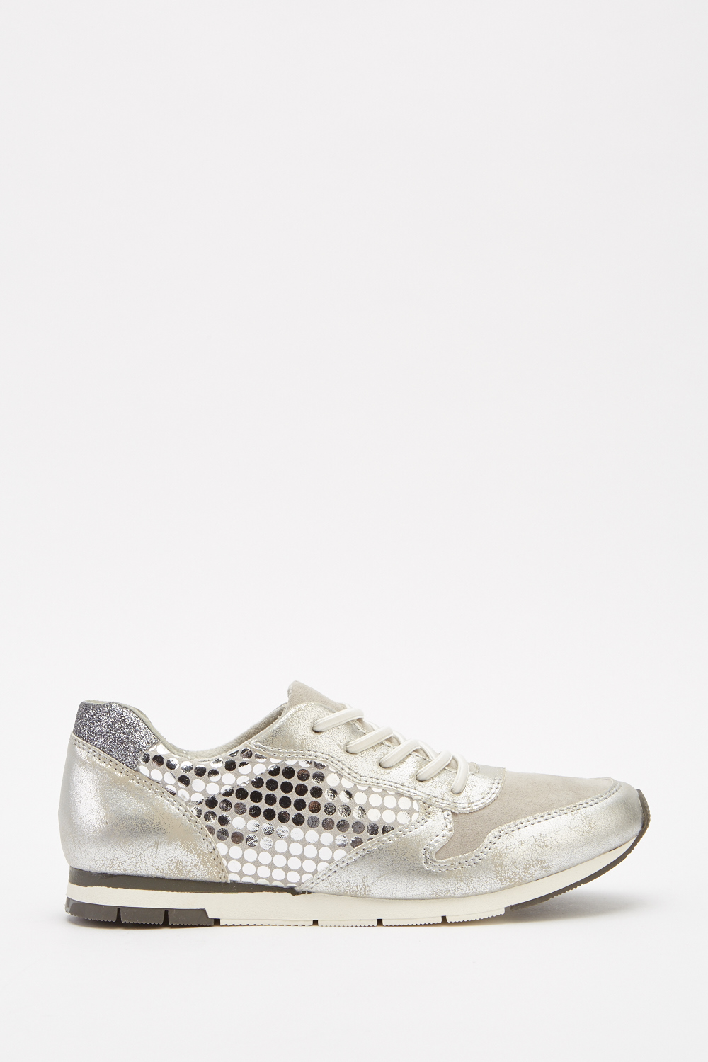 9aa5ccc096e22 Metallic Contrast Lace Up Trainers - Grey/Silver - Just £5