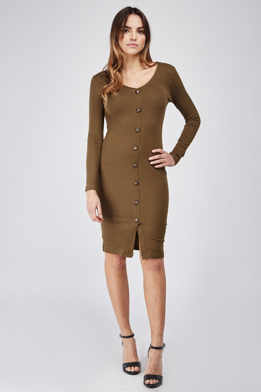 c00705cc899 Button Front Mini Ribbed Dress - Just £5