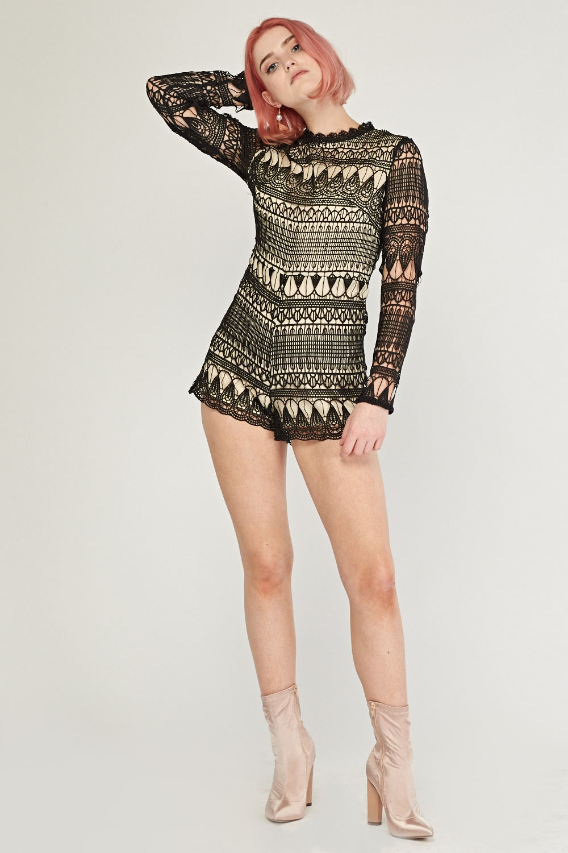 16c88bb46fd Laser Cut Crochet Playsuit - Black - Just £5