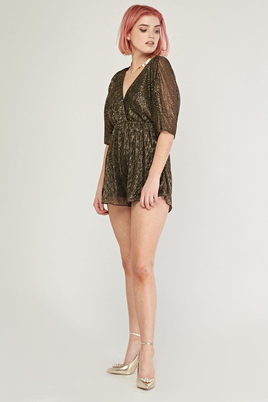 44f2953c9bf Metallic Kimono Sleeve Plisse Playsuit - Brown - Just £5