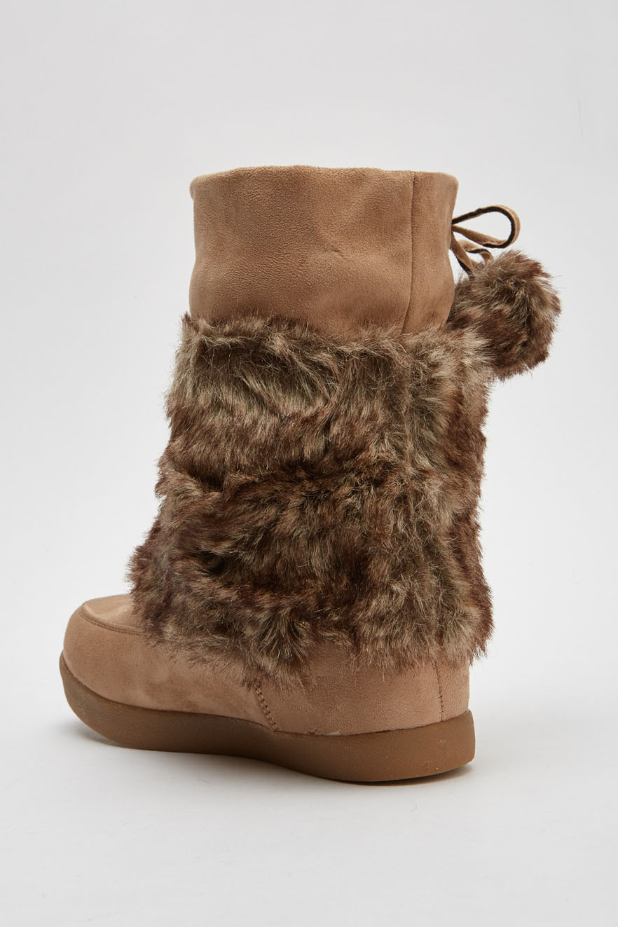Embroidered Suedette Faux Fur Insert Winter Boots - Just £5