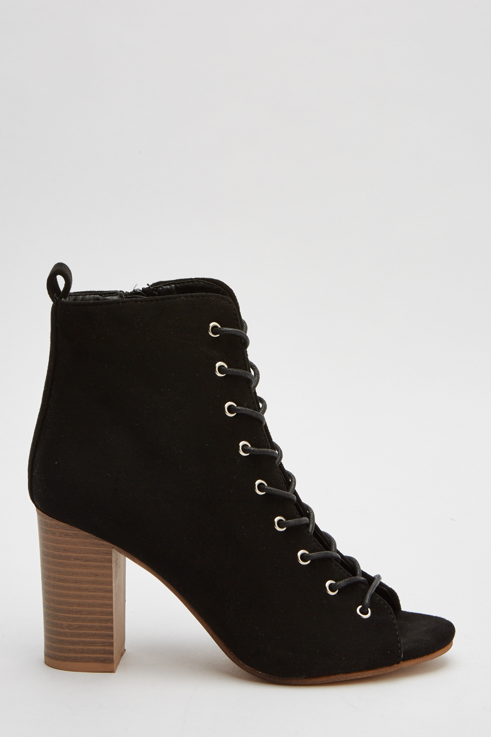 6110cdb6a8a3 Suedette Lace Up Open Toe Block Heels. Click on the image to zoom