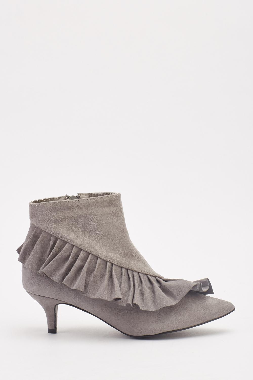 1b4fa3fb36ef Suedette Frill Trim Kitten Heel Boots - Just £5