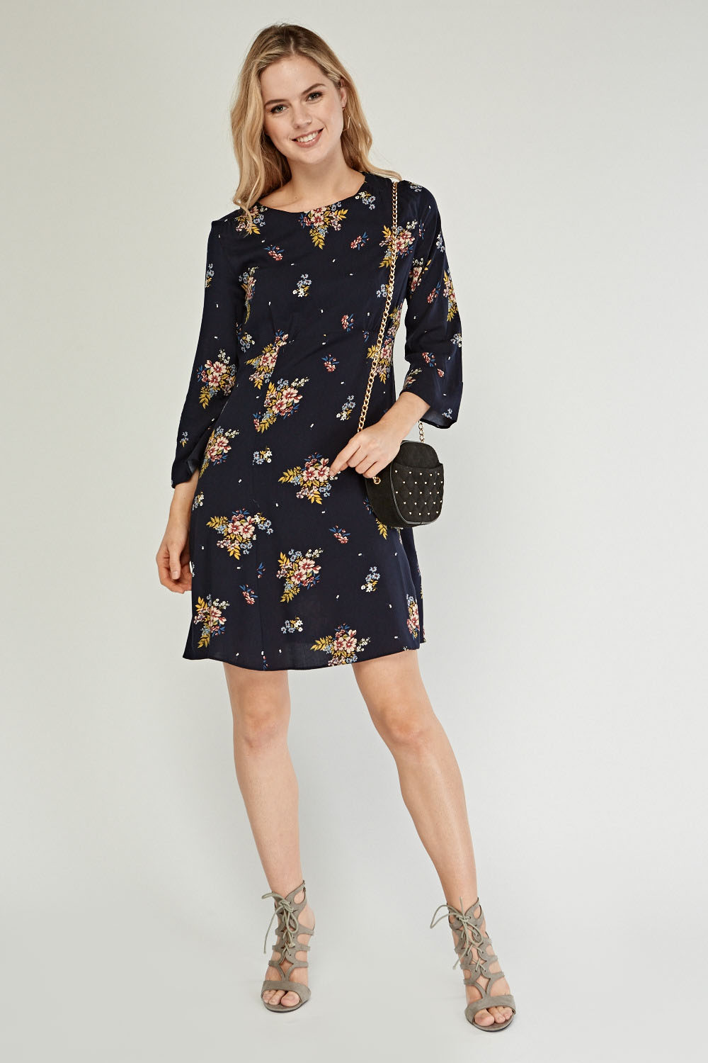 Floral Tunic Dress - Navy Multi - Just £5 698264974