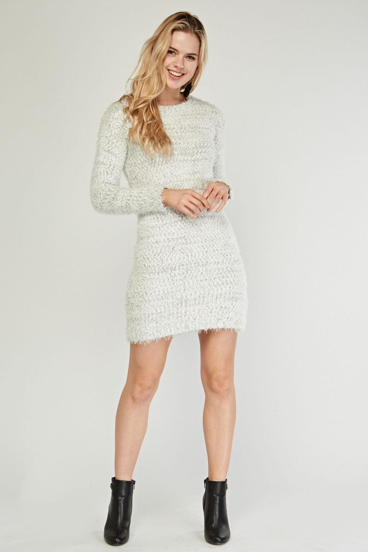 large discount bottom price offer Long Sleeve Eyelash Knit Jumper Dress - Just £5