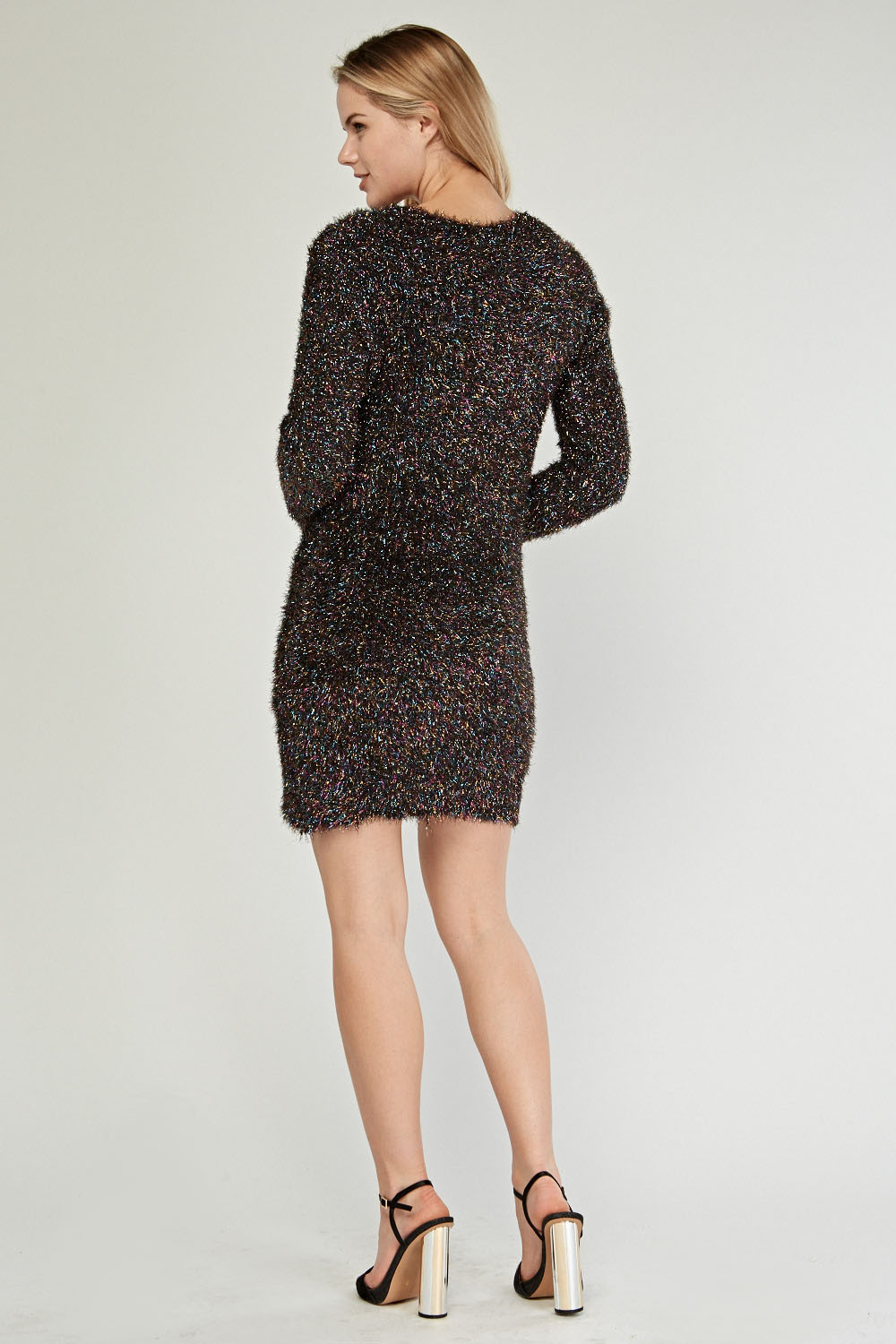 discount price for whole family best sale Textured Contrasted Eyelash Knit Jumper Dress - Just £5