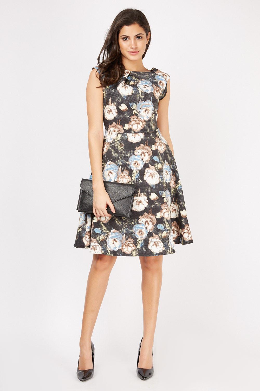 Floral Print Midi Skater Dress - Just £5 6cf014ea9
