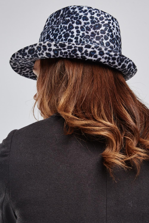 Leopard Print Fedora Hat - Grey Multi - Just £5 bc0e9927123