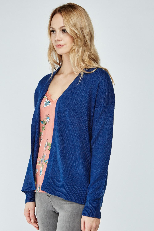 Plain Open Front Knit Cardigan - Brick - Just $3