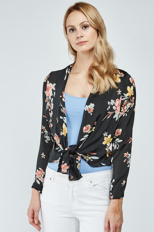 Floral Print Chiffon Kimono - Black Multi - Just £5 157cc1a6d