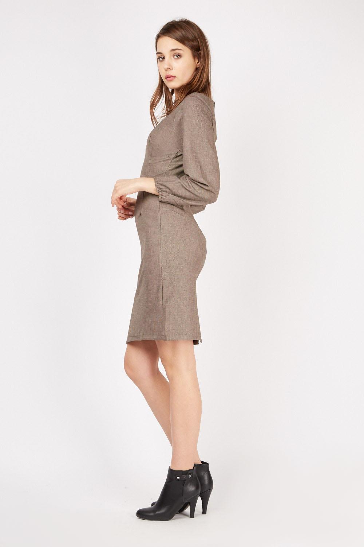 Bishop Sleeve Tunic Dress Brown Just 163 5
