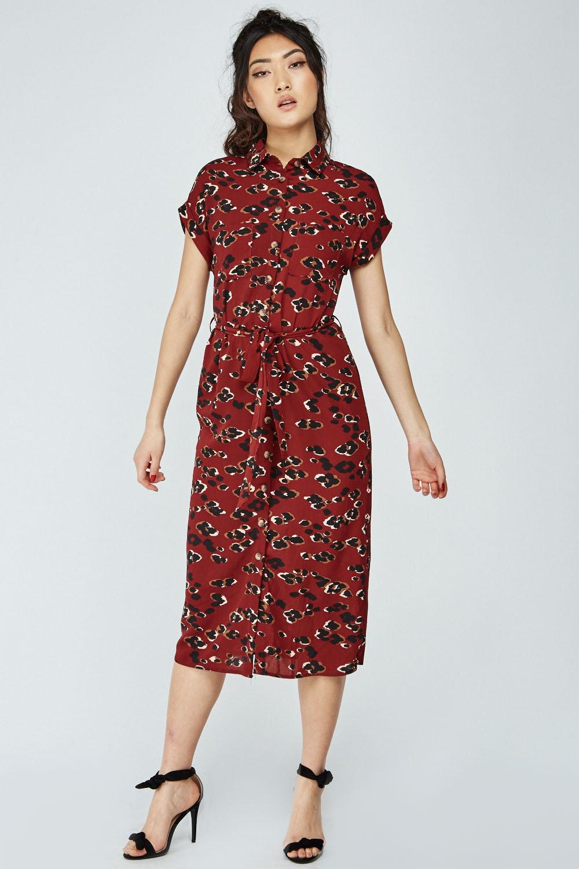 9ef8cc44f78 Animal Print Midi Shirt Dress - Wine Multi - Just £5