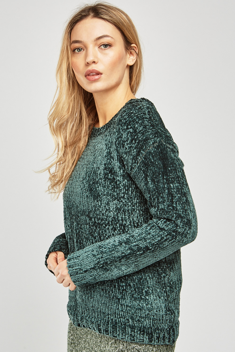 32660ca2c587 Round Neck Green Chenille Knit Jumper - Just £5