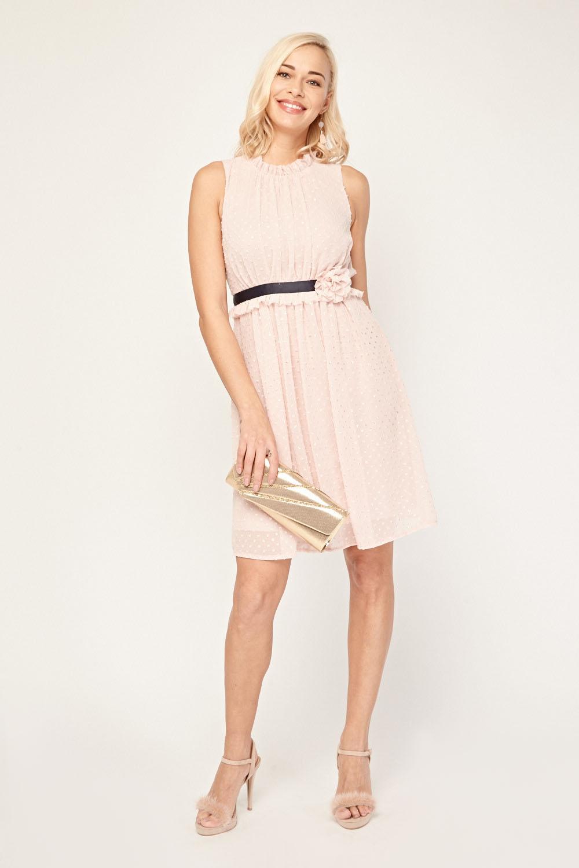 0ef059774ca9ef 3D Flower Trim Sheer Babydoll Dress - Pink - Just £5