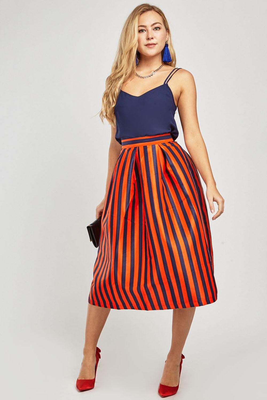 1a1c7ba530daec Vertical Striped Flared Midi Skirt - Just £5