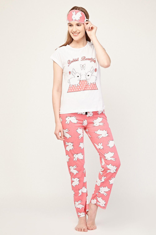 86202793d5 Rabbit Print Pyjama Set - White Pink - Just £5