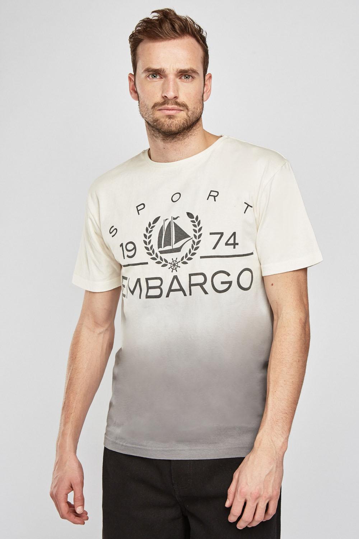 21e8e54fbc3 Gradient Effect Short Sleeve T-Shirt - Cream Grey or Off White Navy ...