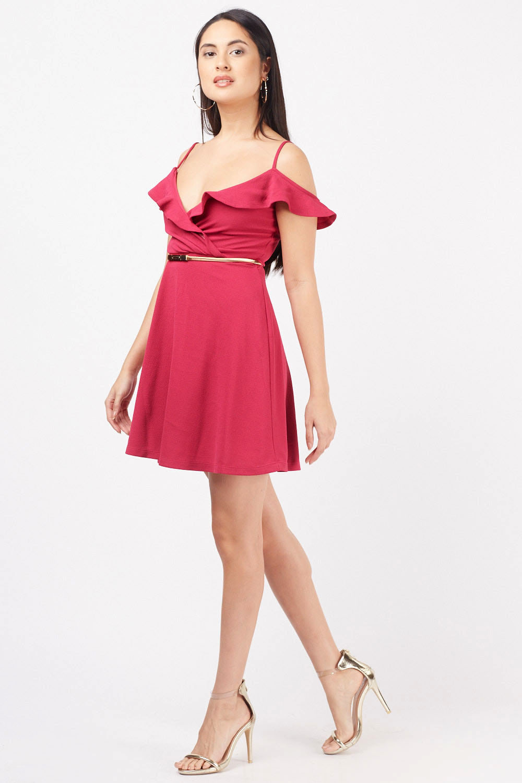3a229c543d2e Ruffle Overlay Wrap Swing Dress - Magenta - Just £5