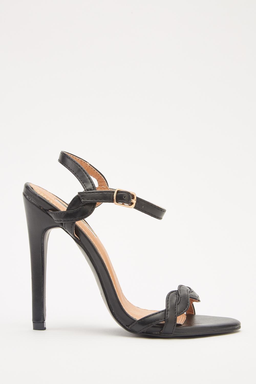 c5a39db9d7ff1e Faux Leather Slingback Sandals - Black - Just £5