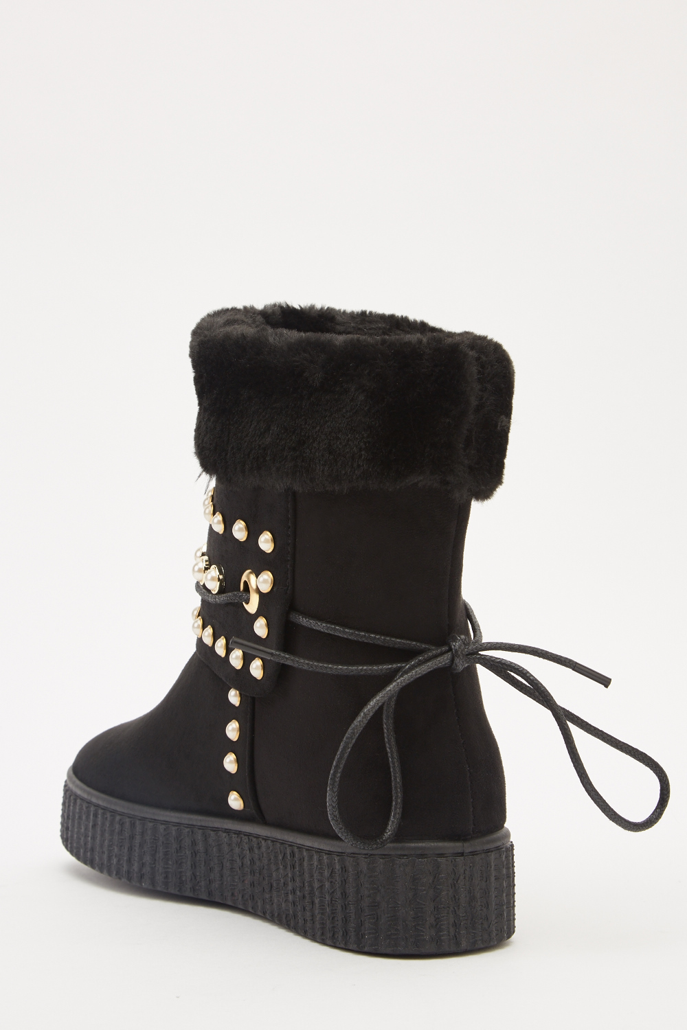 Faux Pearl Fur Trim Winter Boots - Wine Red or Pink - Just £5