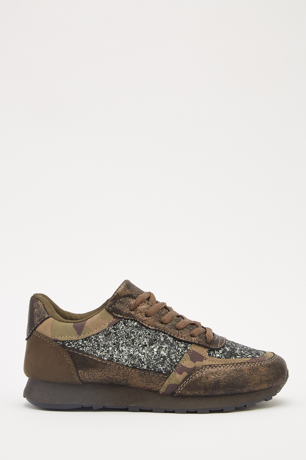 Glitter Contrasted Lace Up Trainers - Army Green - Just £5 c56aceb2c0