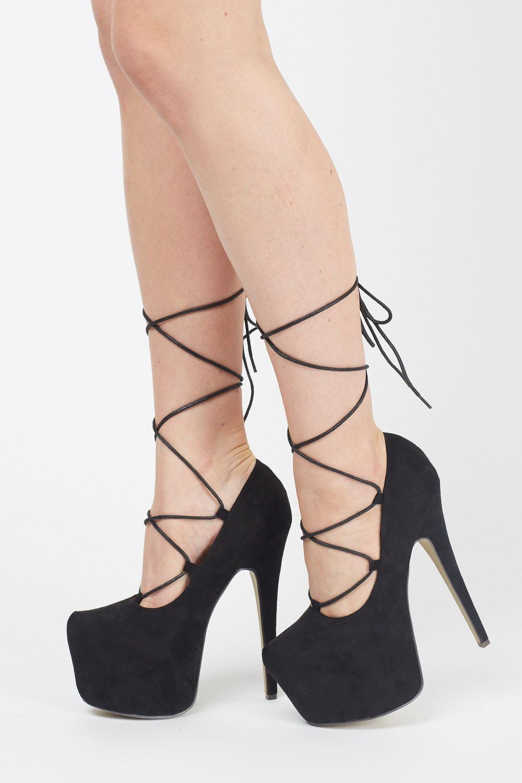 9e984b2bdea4 Suedette Lace Up Platform Heels - Just £5
