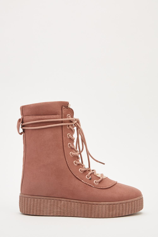f0e407dc8a46 Suedette Lace Up Platformed Boots - 3 Colours - Just £5