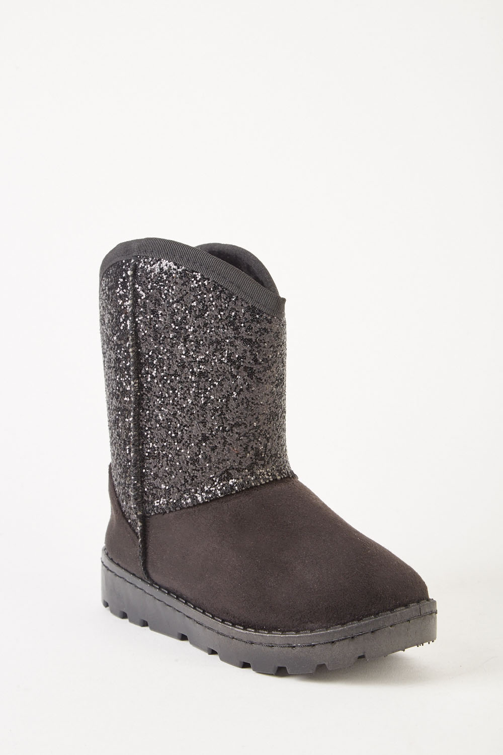 1bfc215ea Kids Suedette Contrasted Winter Boots - Black - Just £5