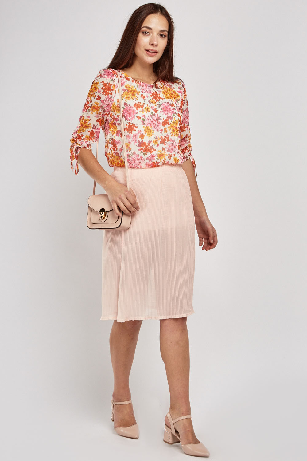 Floral Print Sheer Chiffon Blouse - Pink Multi - Just £5 a035aae68