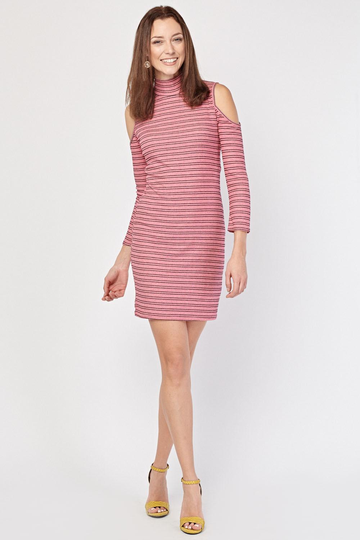 05572bf79 Cold Shoulder Stripe Rib Dress - Pink Black or White Pink - Just £5