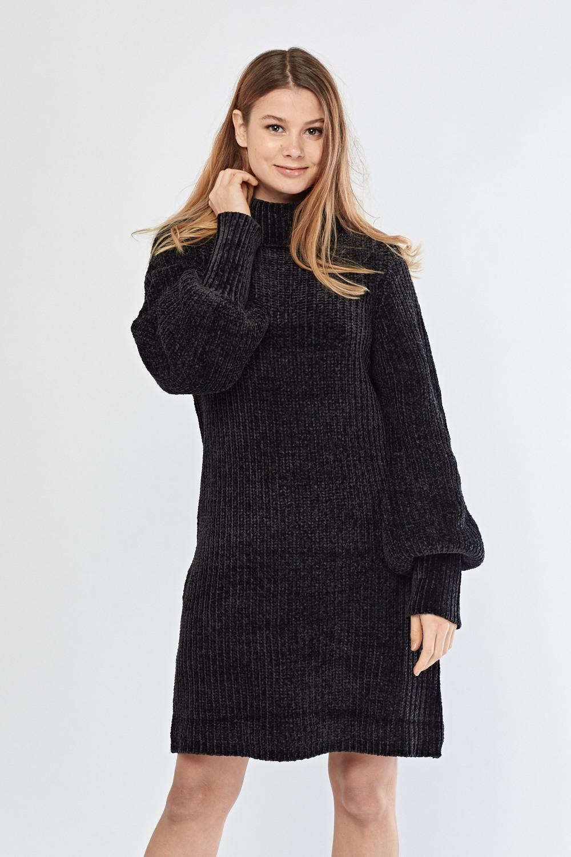 bb74de6e903 Roll Neck Chenille Knit Jumper Dress - Just £5
